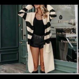 Cream & Black long cardigan